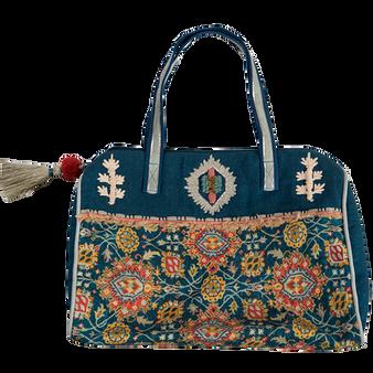 Brocade Mini Duffel Bag- Blue