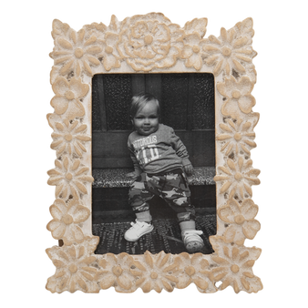 Carved Wood Photo Frame - Dahlia