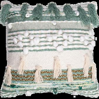 Hand Woven & Embellished Cushion 45cm - Sage