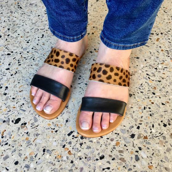 Hide & Leather Double Slide - Tan Cheetah