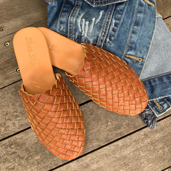 Leather Woven Loafer Slide - Camel