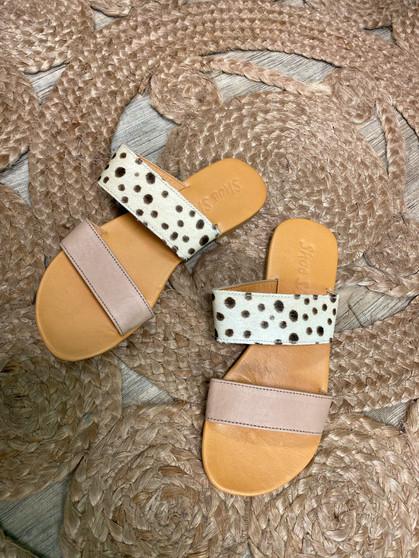 Hide & Leather Double Slide - Blush Cheetah