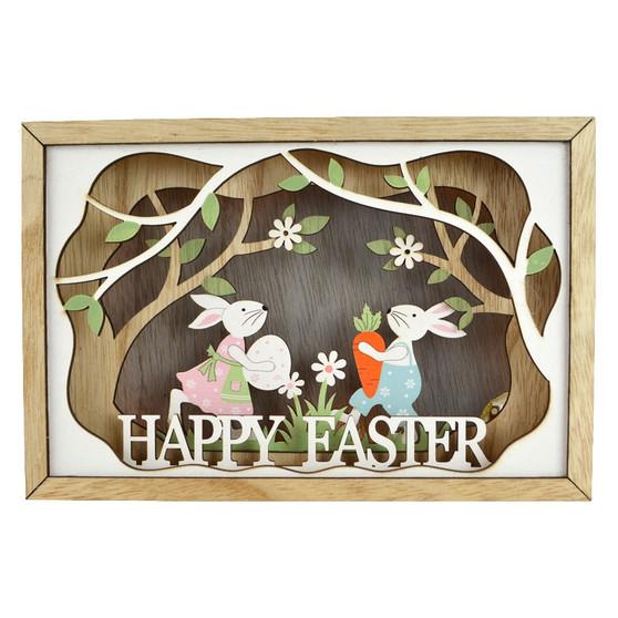 Wooden Led Easter Box Scene 22.5x15cm