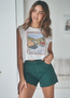 Peaches - Crop Muscle Tee - Off White
