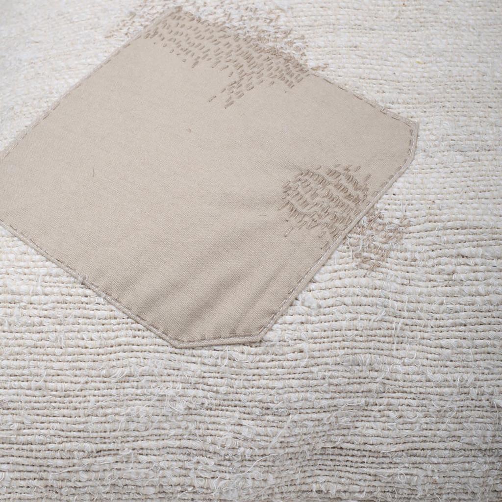 Patch Cushion, Woven Linen