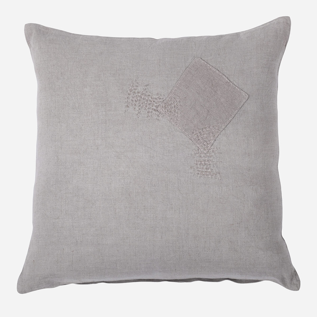 Patch Cushion, Smoke Grey