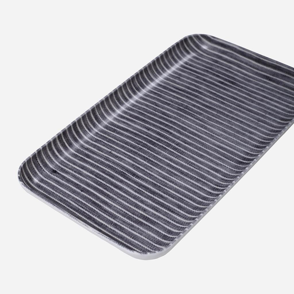 Linen Coating Tray, Small Grey White Stripe