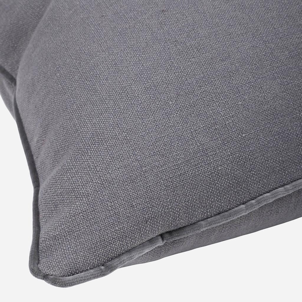 Gray Linen with Velvet Pipe Pillow