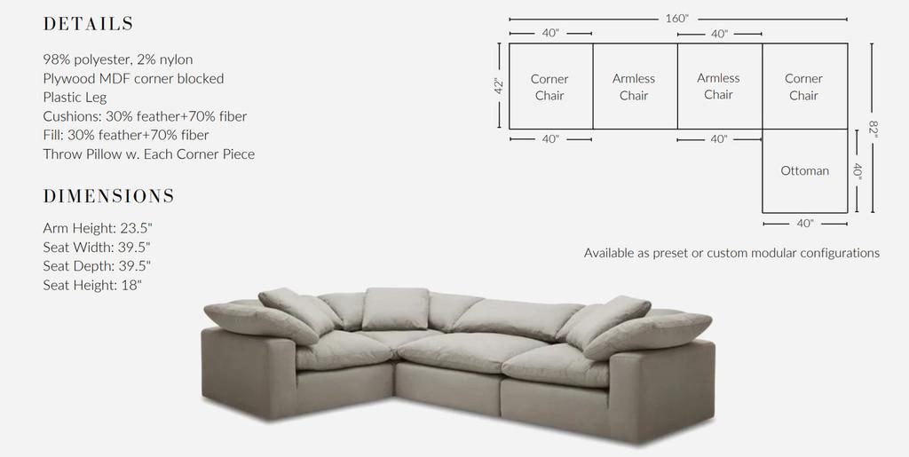 Stratus Cloud Sofa, Slate