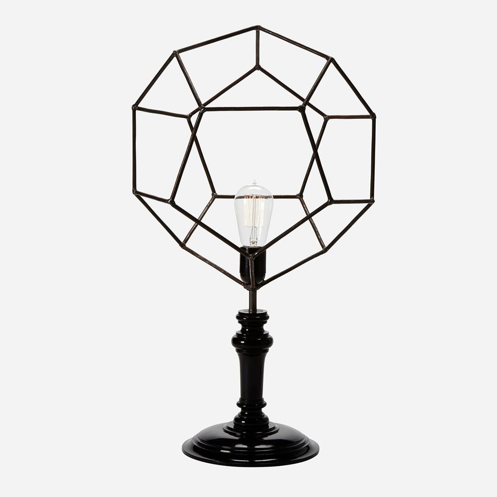 Geometric Wire Table Lamp, Pentagon