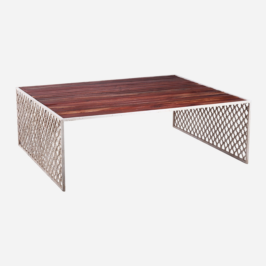 Jali Coffee Table with Wood Top, Large