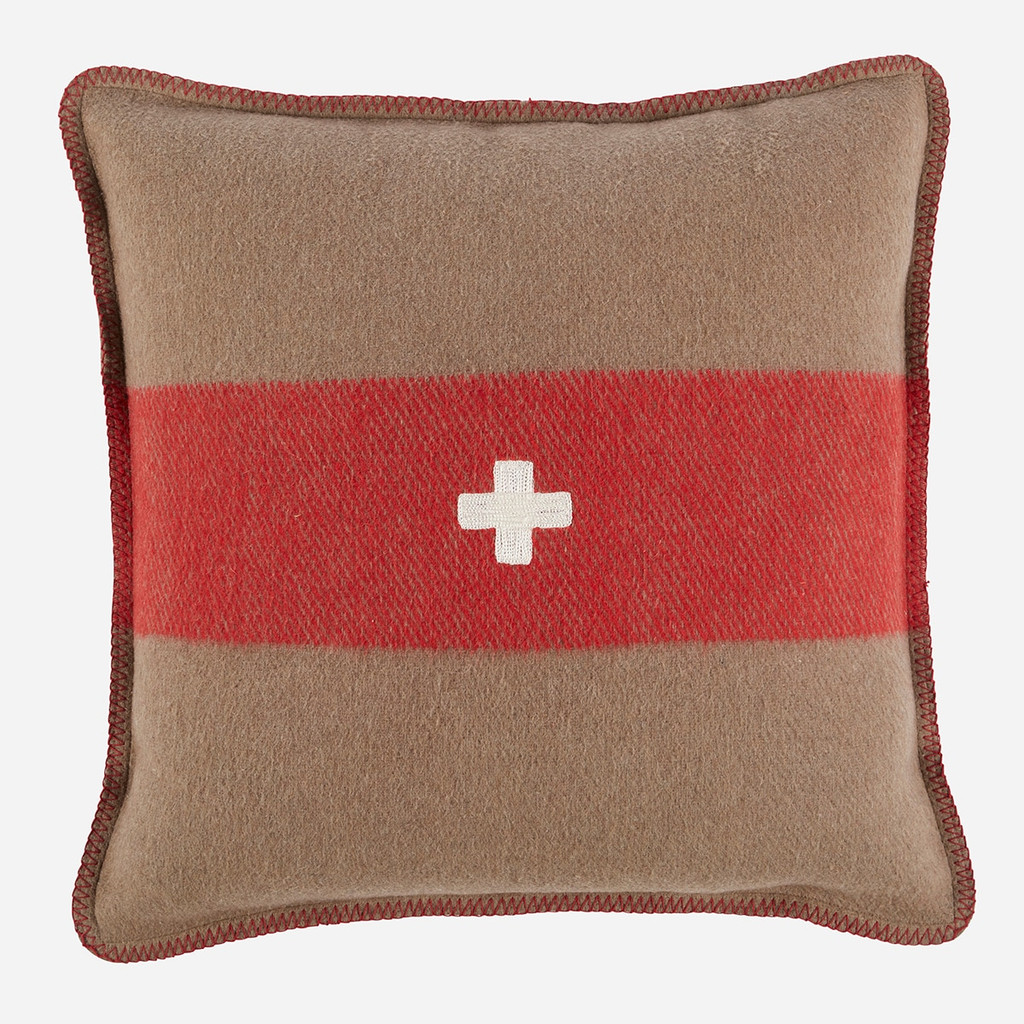 Swiss Army Pillow Cover 24x24 Brown/Red