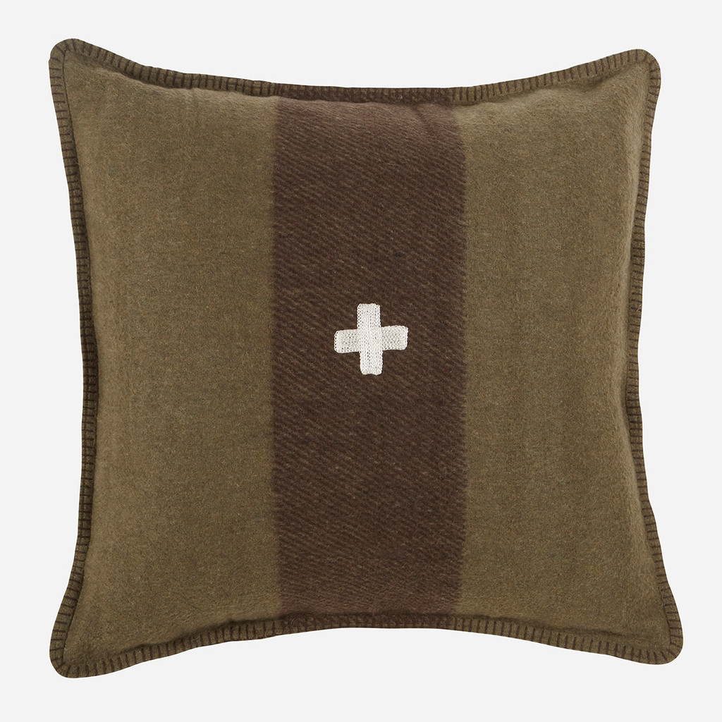 Swiss Army Pillow Cover 24x24 Green/Brown