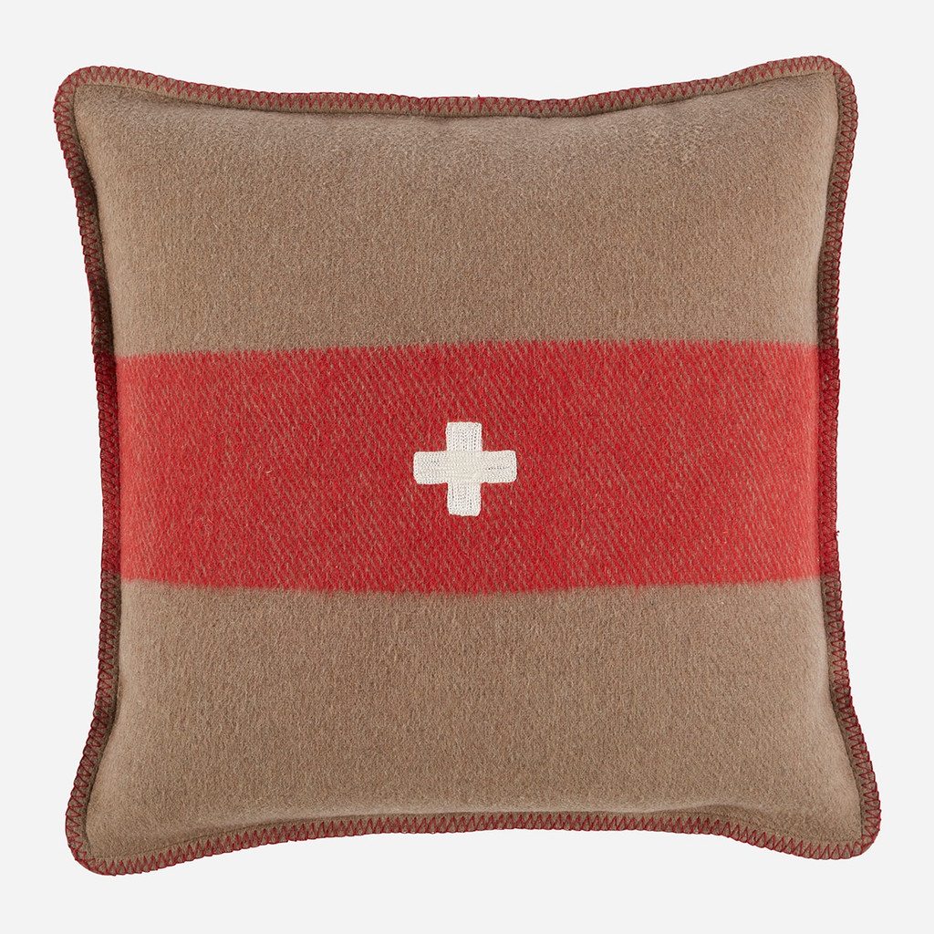 Swiss Army Pillow Cover 28x28 Brown/Red