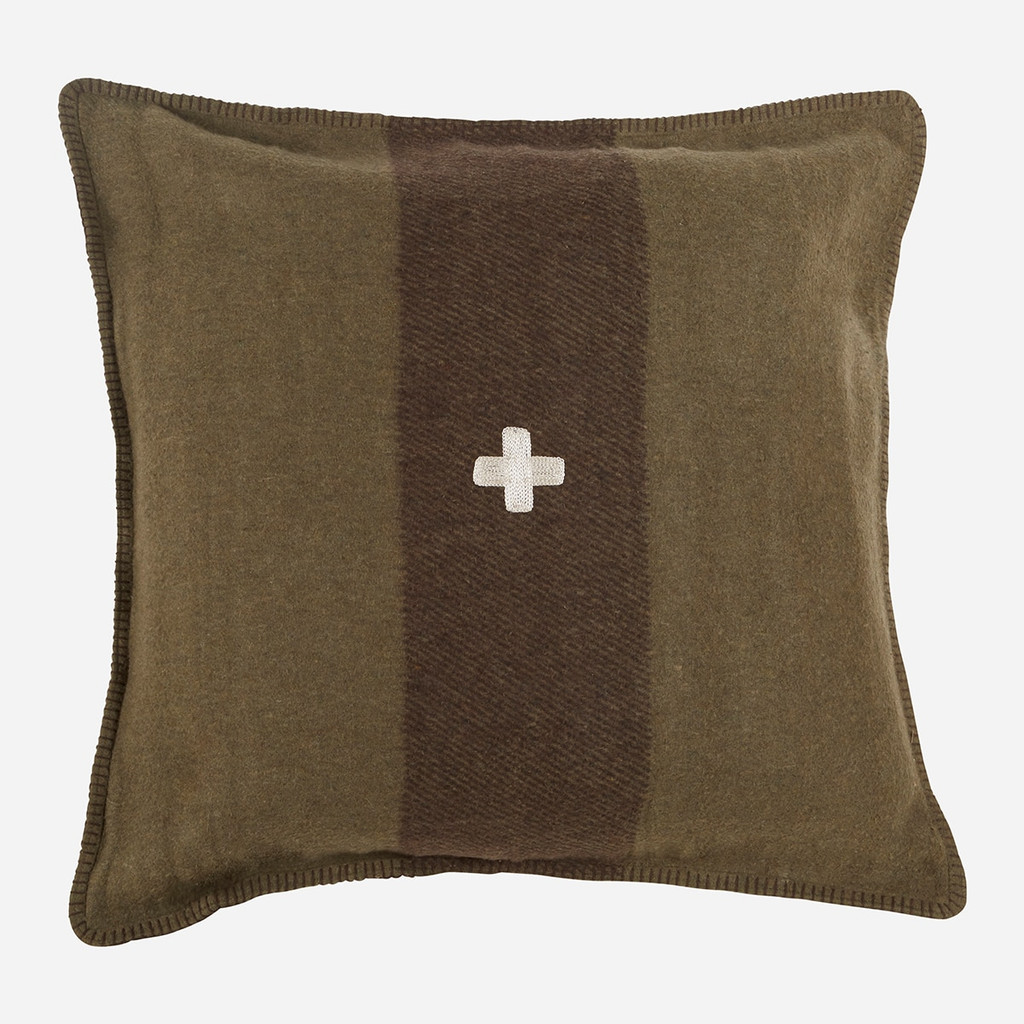 Swiss Army Pillow Cover 28x28 Green/Brown