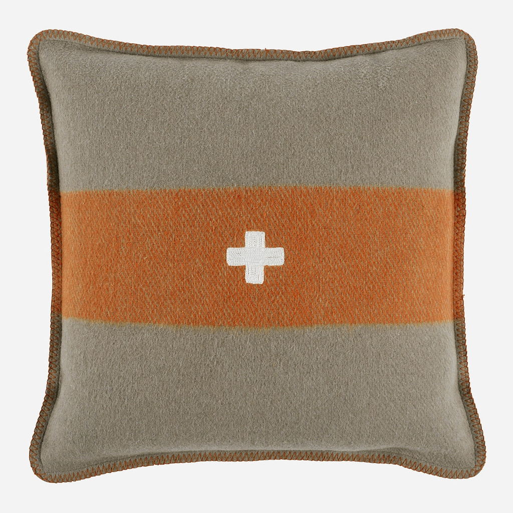 Swiss Army Pillow Cover 28x28 Grey/Orange