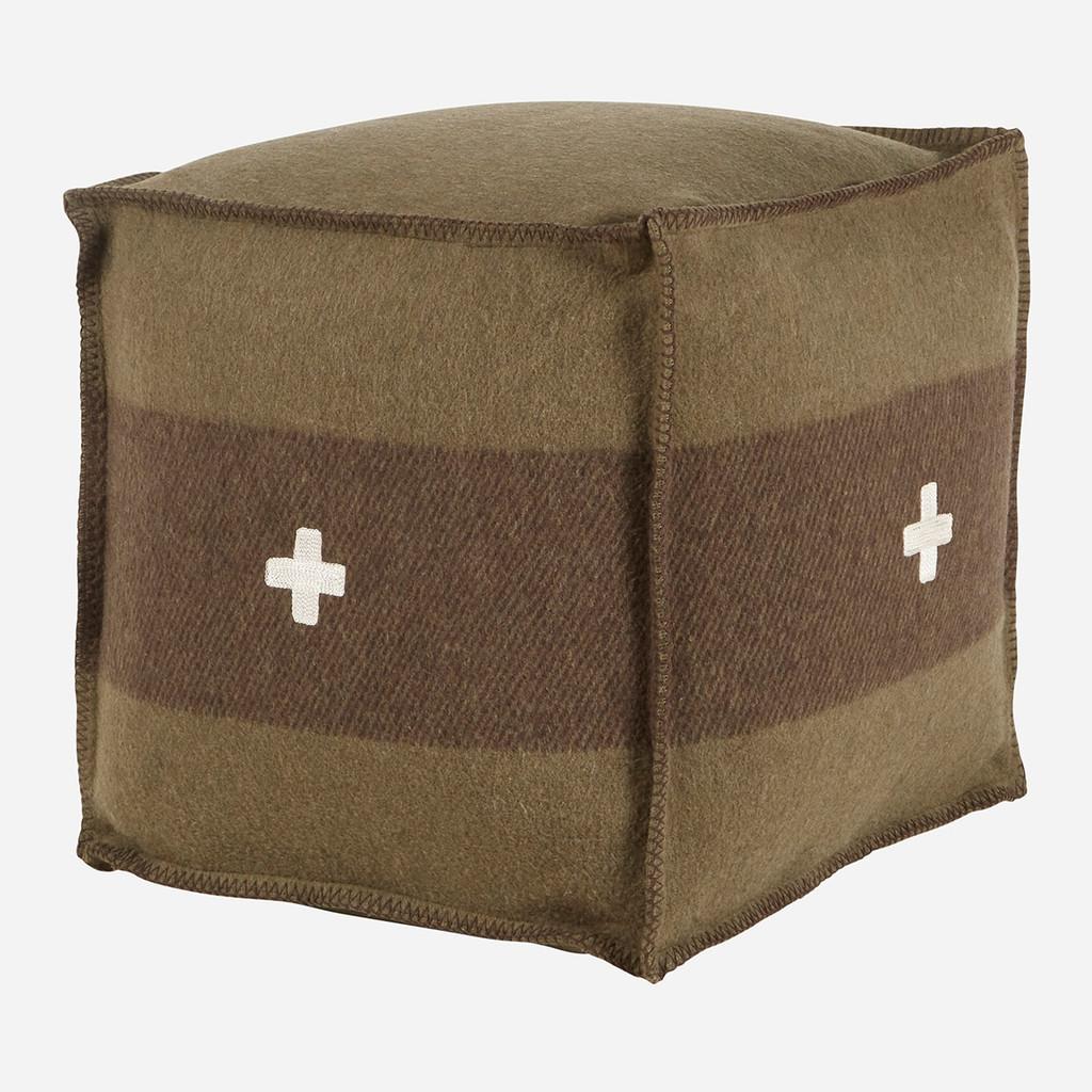 Swiss Army Pouf 18x18x18 Green/Brown
