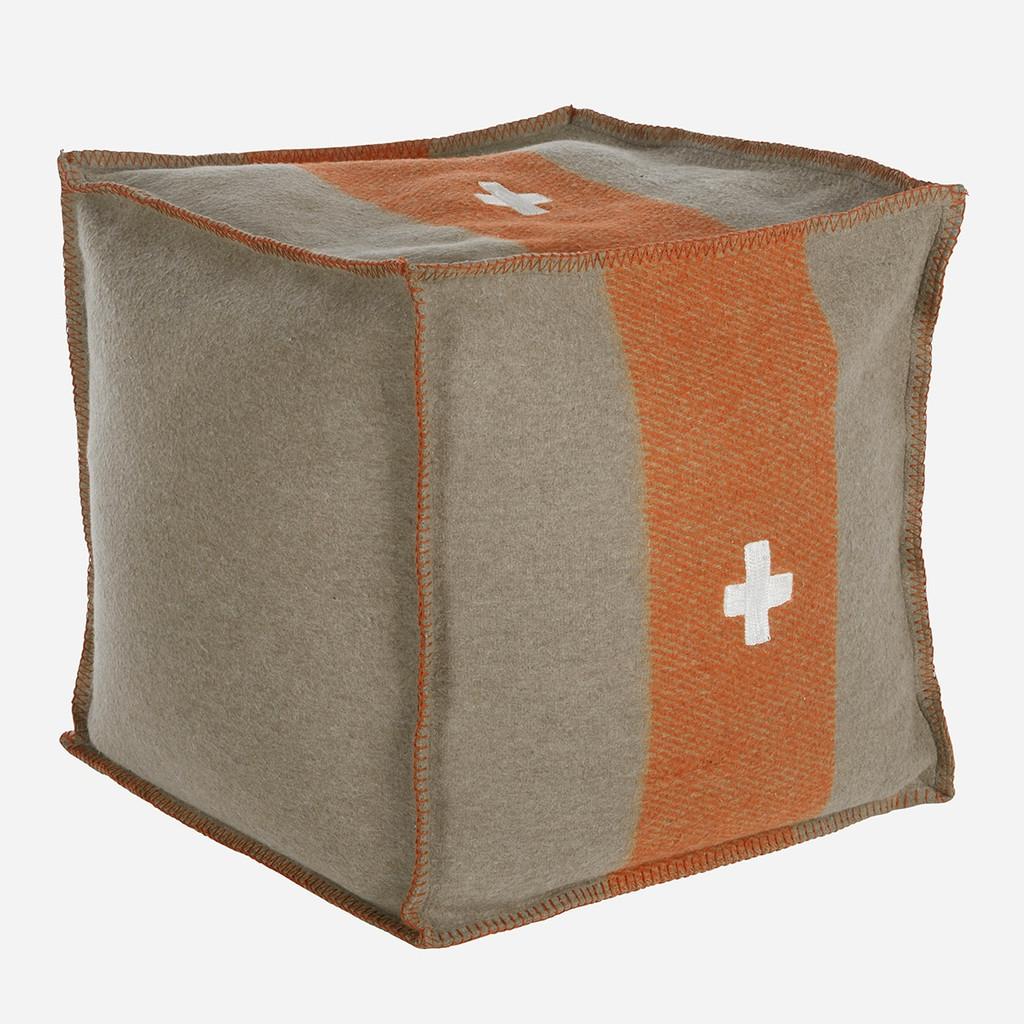 Swiss Army Pouf 24x24x24 Grey/Orange