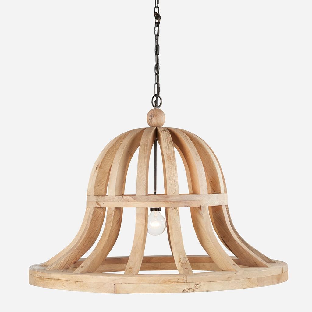 Wooden Bell Chandelier, 36in