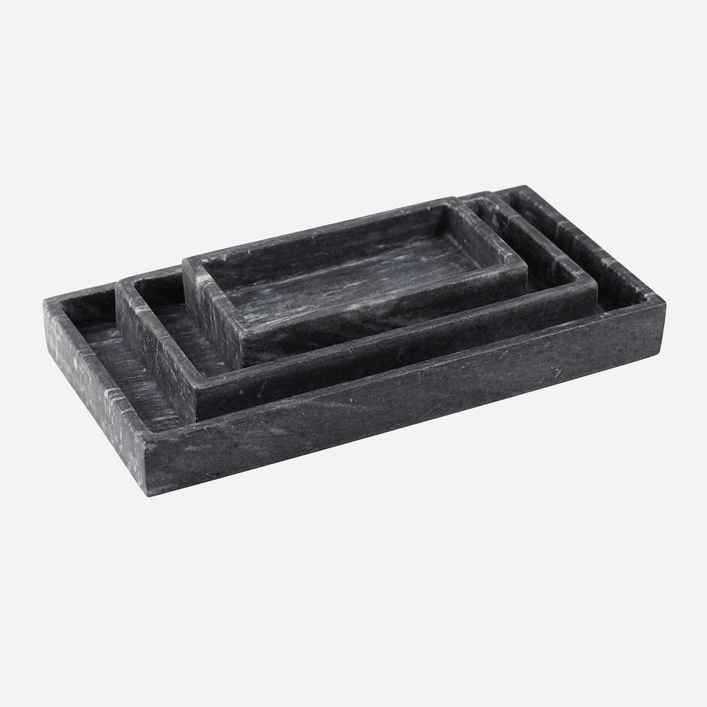 Rectangular Black Marble Tray S/3