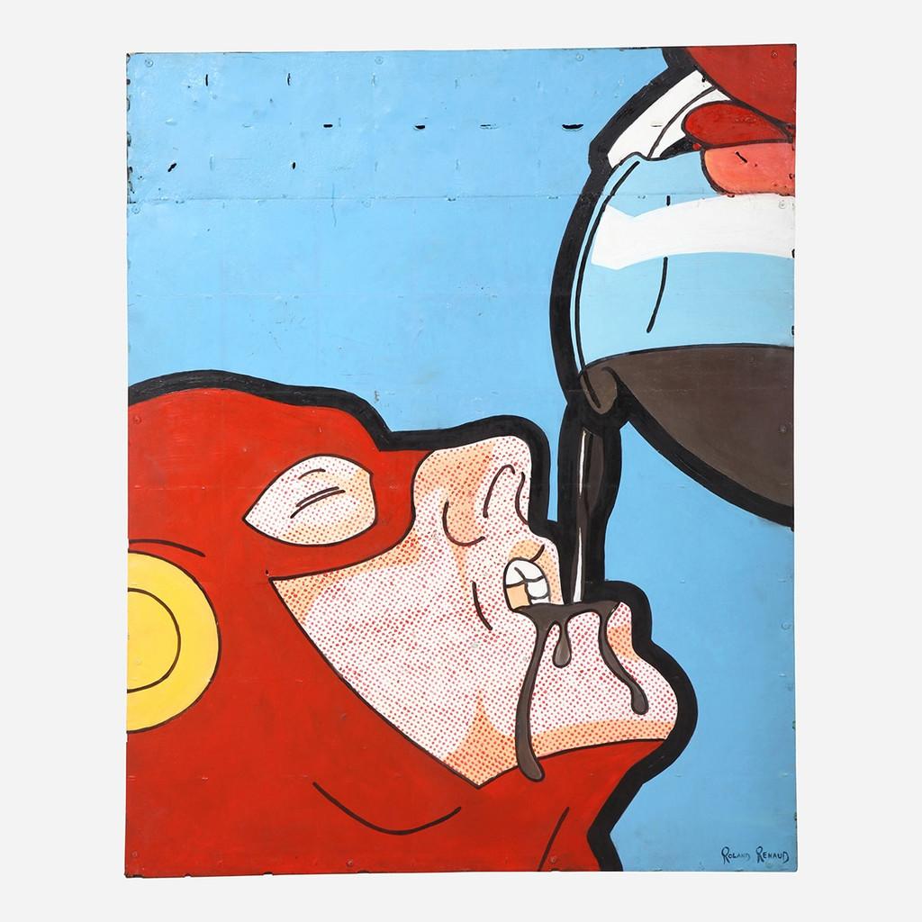 Art on Reclaimed Metal, Coffee Break 48x40