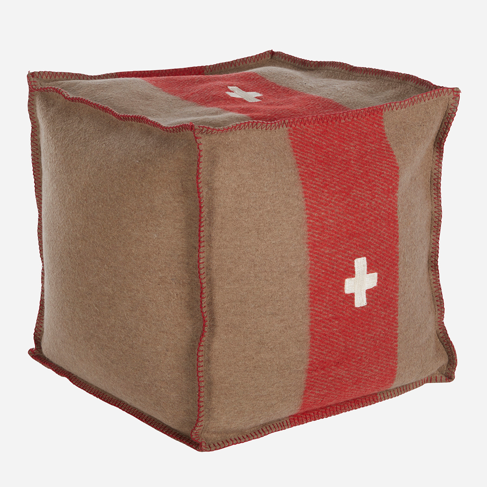 Swiss Army Pouf 24x24x24 Brown/Red  (WHS Open Box Stock)