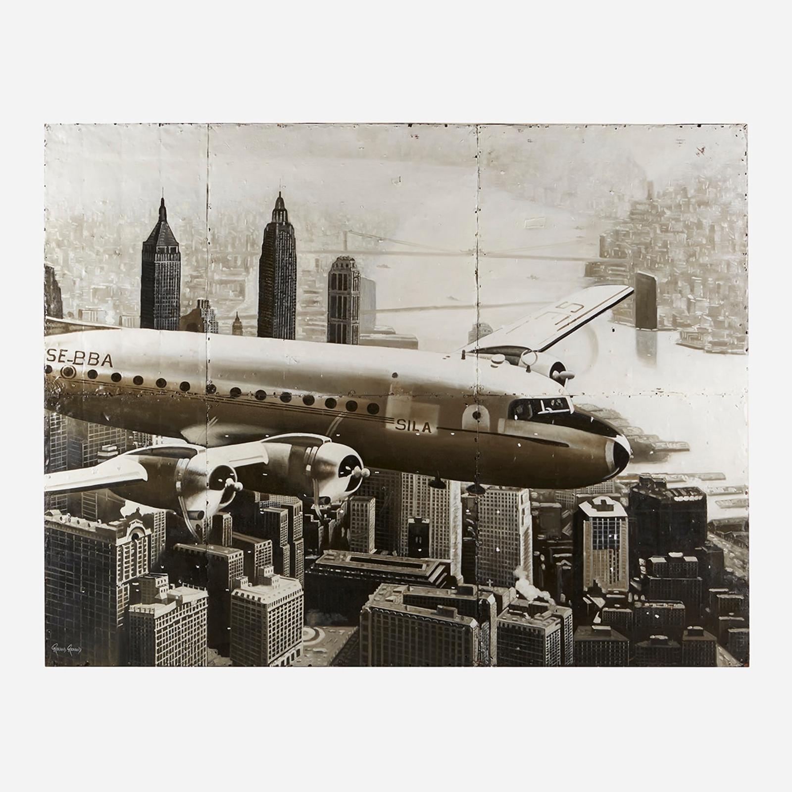 Art on Reclaimed Metal, Plane Over New York