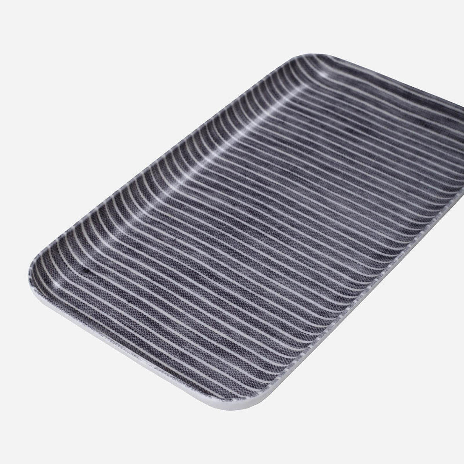 Linen Coating Tray, Small Grey White Stripe