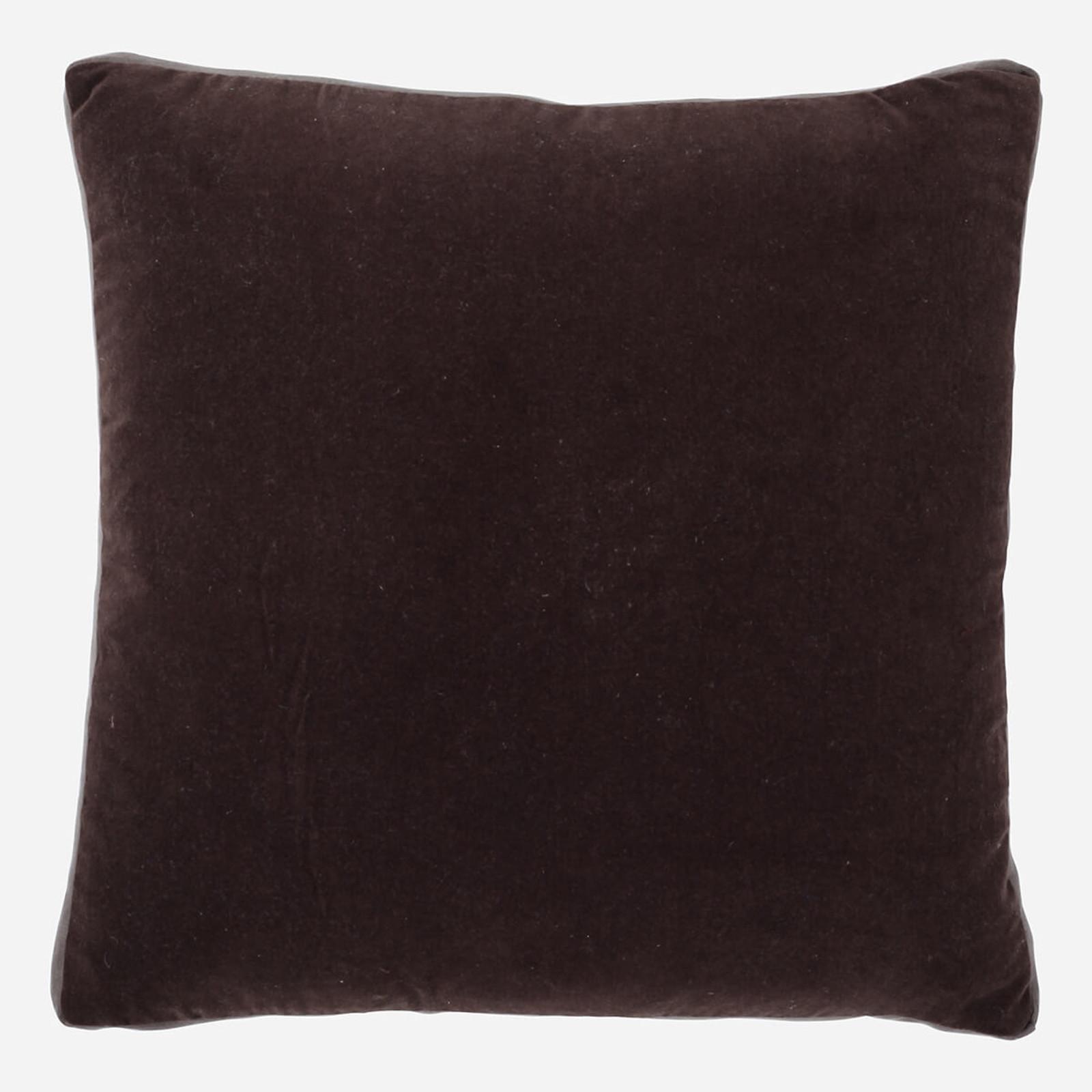 Cafe Velvet with Cafe Linen Gussett 22 x 22 Pillow