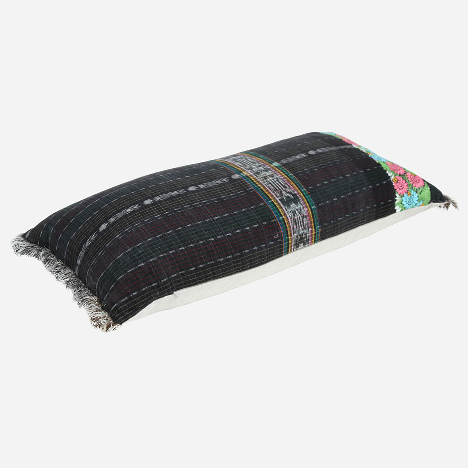 Large embroidered Lumbar Pillow