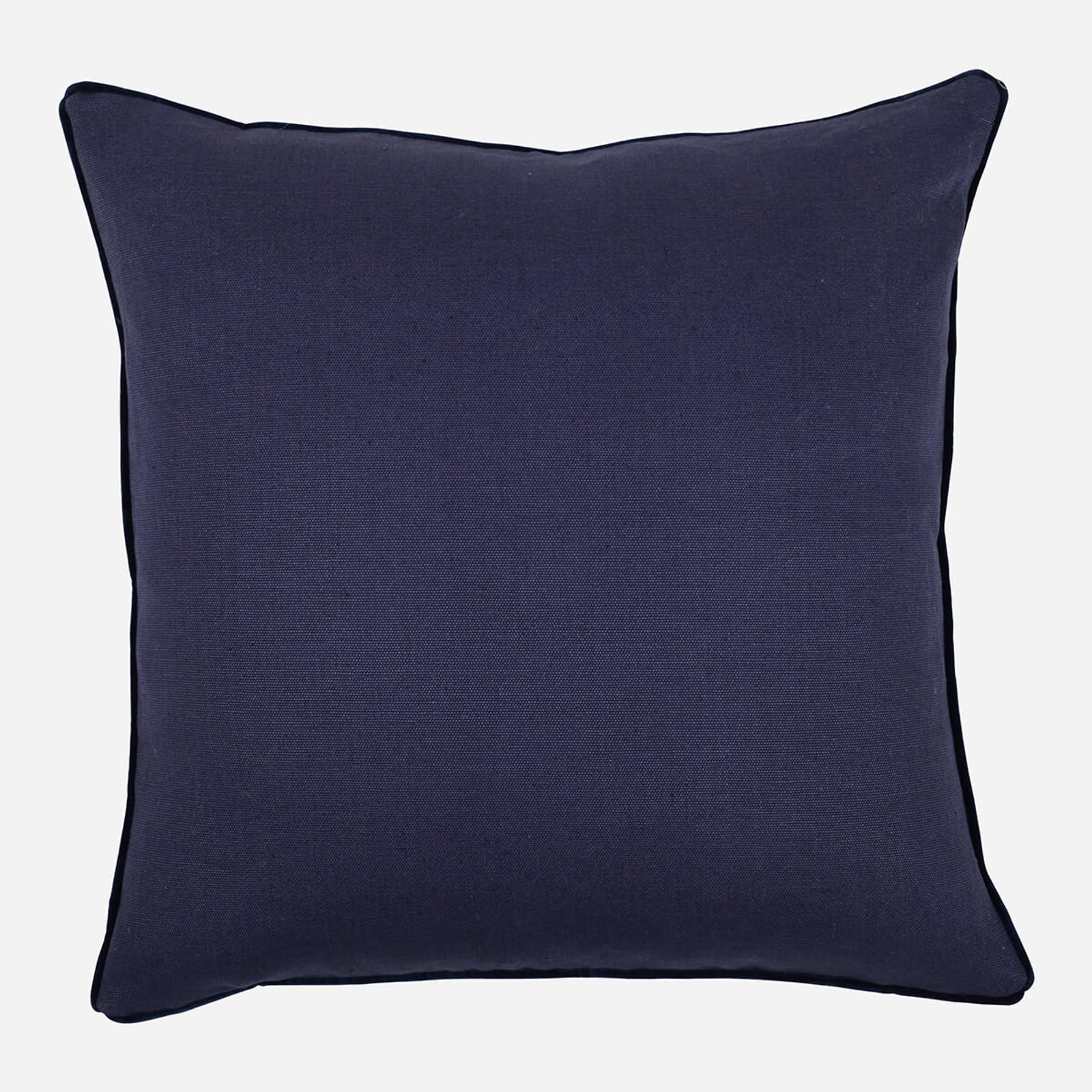 Navy Linen with Velvet Pipe 22 x 22 Pillow