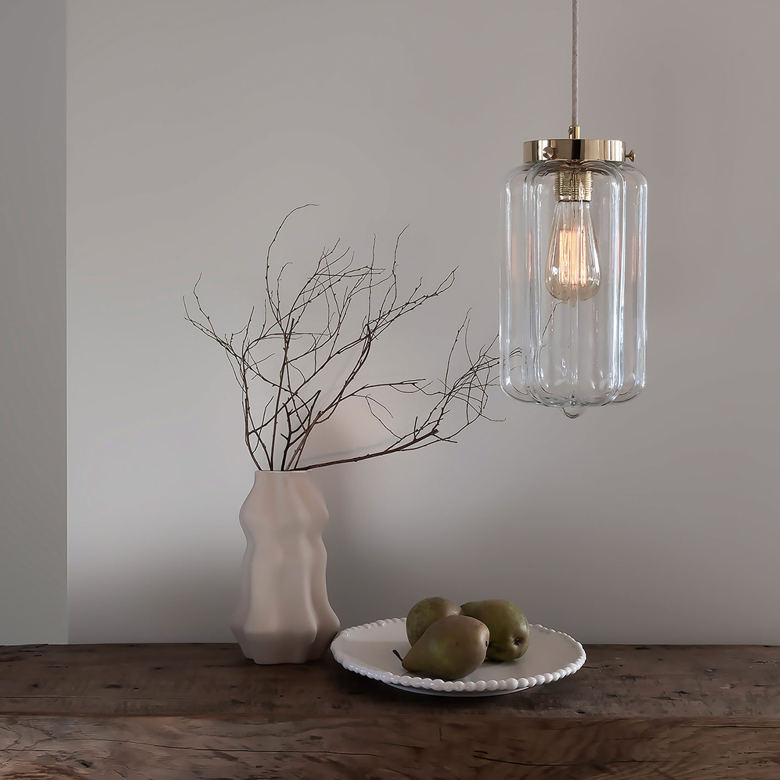 Glass Pendant Light Clear Deco