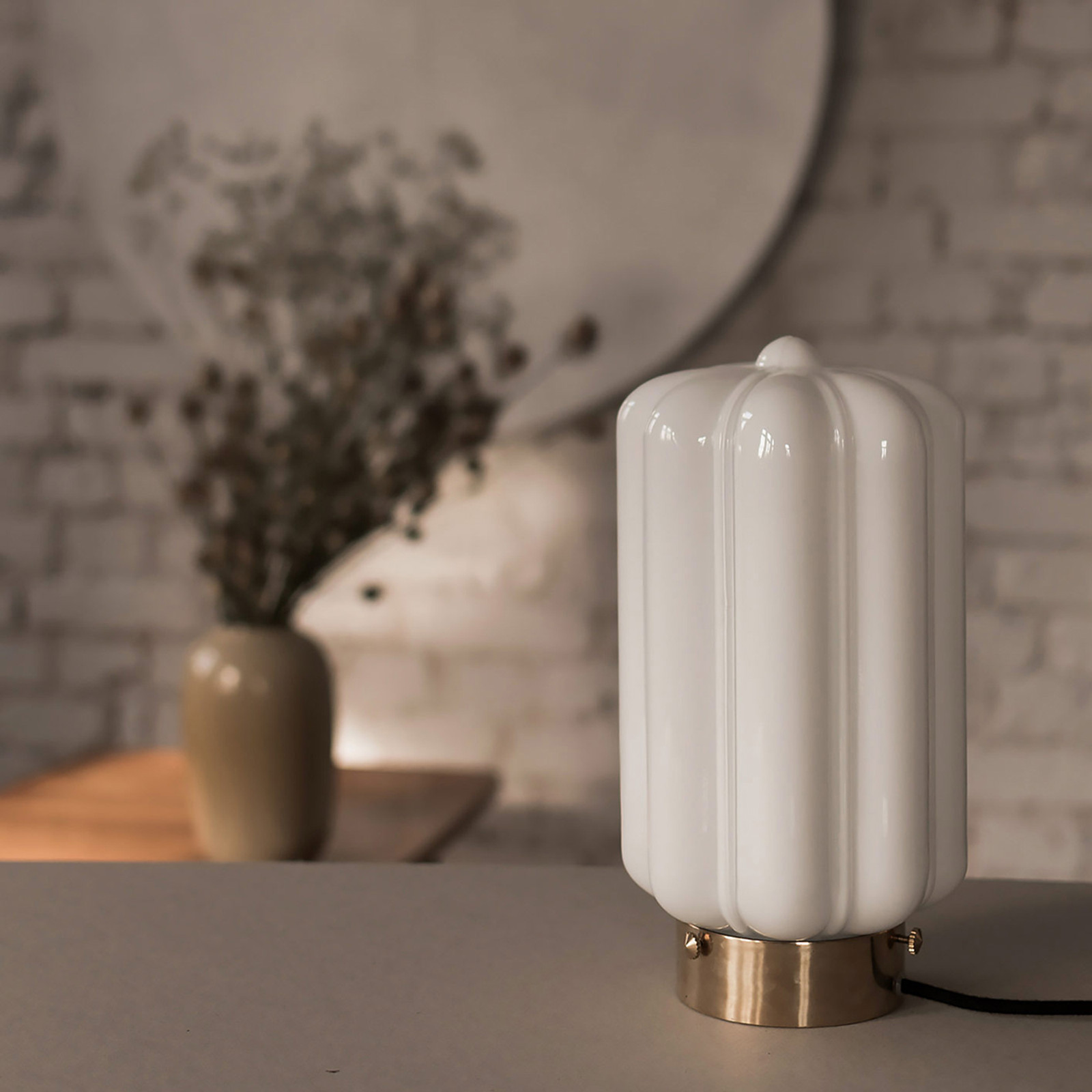 Glass Table Lamp White Deco