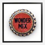Framed Bottle Cap Print, Wonder Mix 20x20
