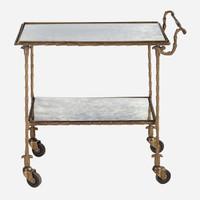 Josie Mirrored Rolling Bar Cart