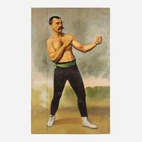Art on Reclaimed Metal, Boxeur Avec Moustache
