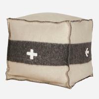 Swiss Army Pouf 18x18x18 Cream/Black