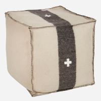 Swiss Army Pouf 24x24x24 Cream/Black