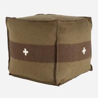 Swiss Army Pouf 24x24x24 Green/Brown