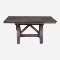 Stone Table with Blue Base