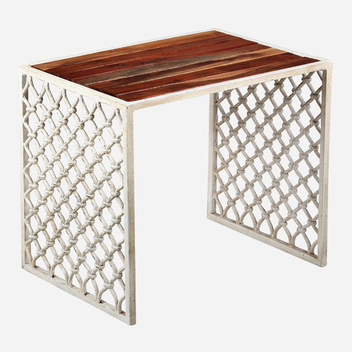 Jali Outdoor Stool, Wood Top (WHS Open Box Stock)