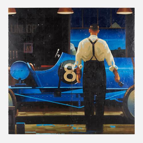 Art on Reclaimed Metal, Man Painting Race Car