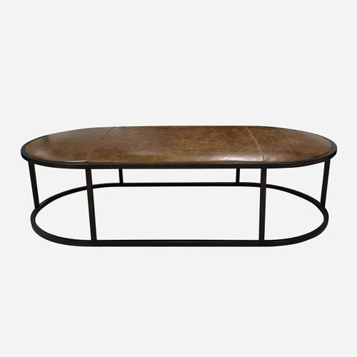 Oval Leather Coffee Table, Tri-Tone Whiskey