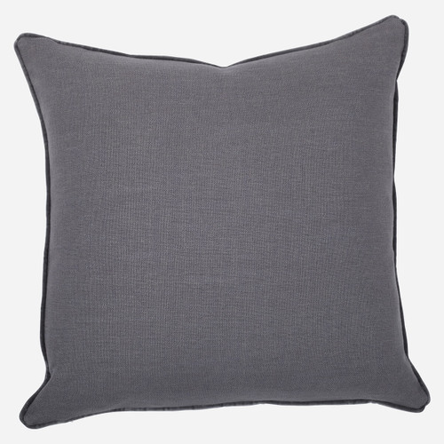 Gray Linen with Velvet Pipe Pillow