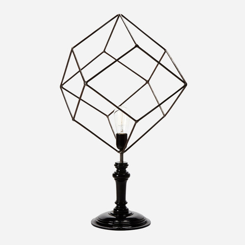 Geometric Wire Table Lamp, Rhombus