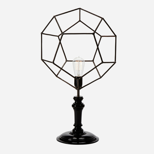 Geometric Wire Table Lamp, Pentagon