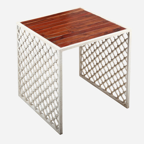 Jali Outdoor Side Table, Wood Top