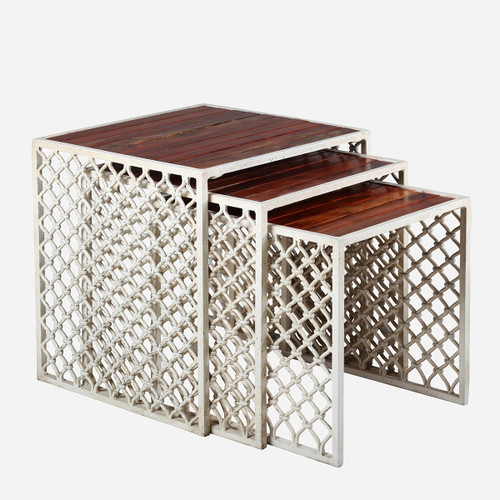 Jali Outdoor Nesting Tables, Wood Top (Set of 3)
