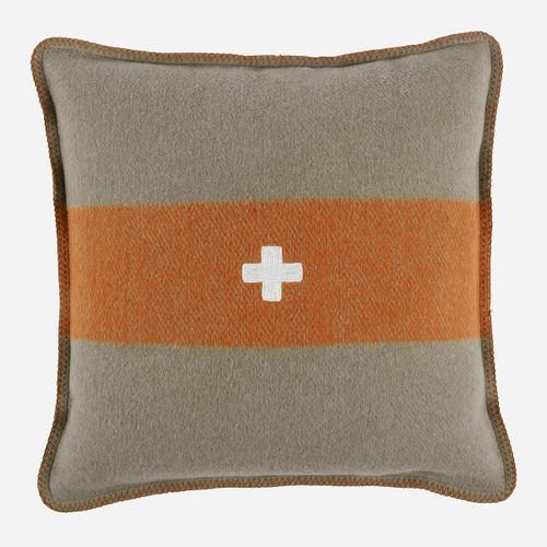 Swiss Army Pillow Cover 24x24 Grey/Orange