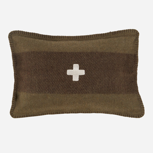 Swiss Army Pillow Cover 14x20 Green/Brown